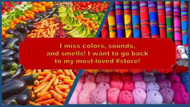 colorful fruits and fabrics with text