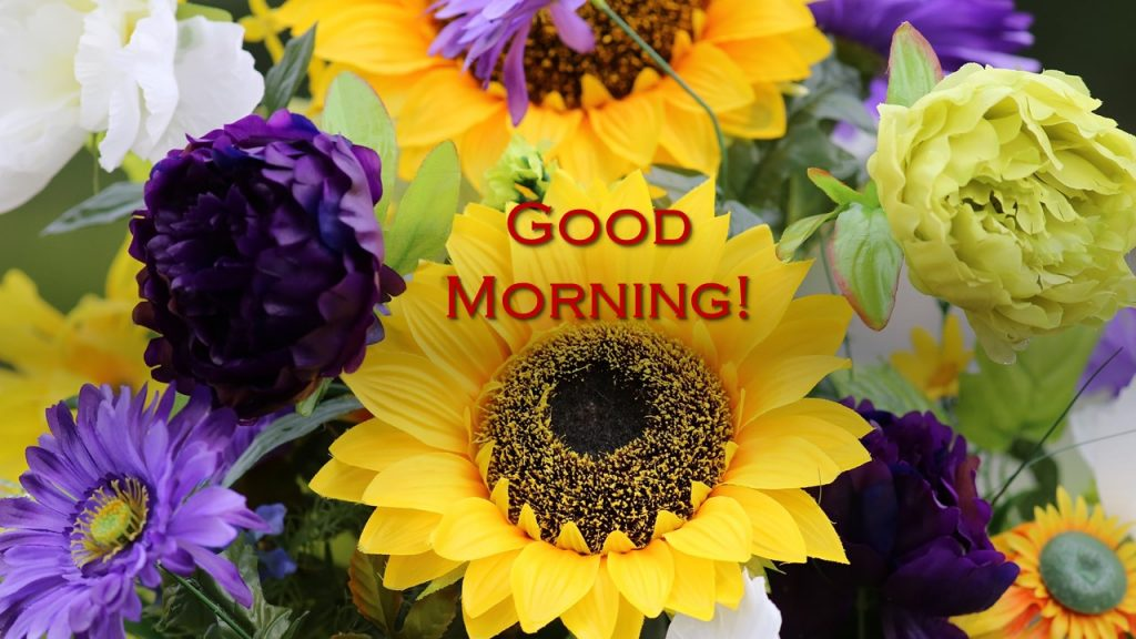"""""""Good Morning"""" words overlaid on photo of huge yellow sunflowers + purple blossoms"""
