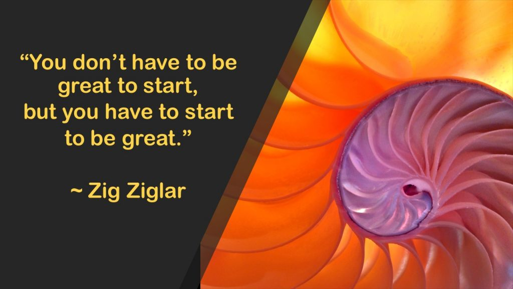 """""""You don't have to be great to start, but you have to start to be great."""""""