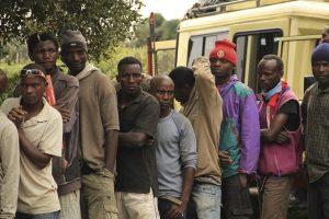 African porters standing in line