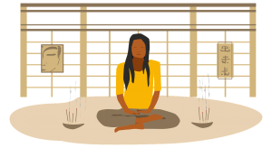 illustration of a person seated in meditation pose