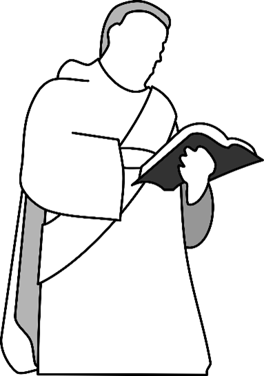 illustration of holy man reading from holy scriptures