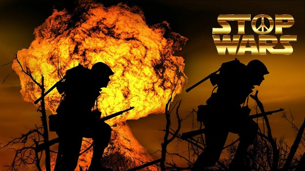 #vss365 #prompt #war picture of soldiers in front of flames from an explosion