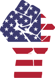 illustration of a fist in American flag design by Gordon Johnson