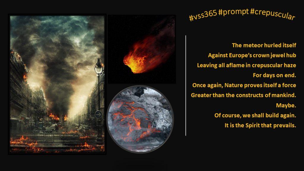 collage of meteor hitting earth by Nancy Wyatt