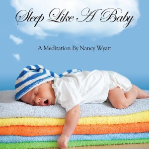 Sleep Like a Baby CD cover baby lying on colorful towels with blue sky and white cloud in the background