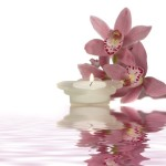orchids and candle